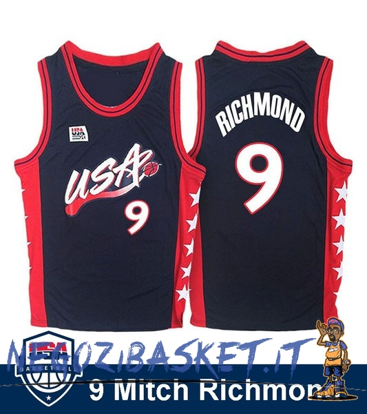 Promo Maglia NBA 1996 USA Mitch Richmond NO.9 Nero