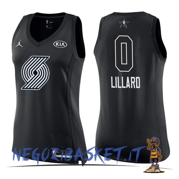 Promo Maglia NBA Donna 2018 All Star NO.0 Damian Lillard Nero