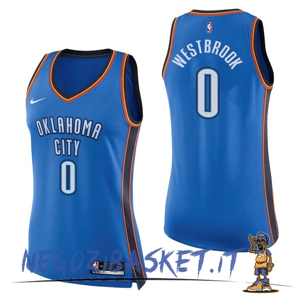 Promo Maglia NBA Donna Oklahoma City Thunder NO.0 Russell Westbrook Blu Icon
