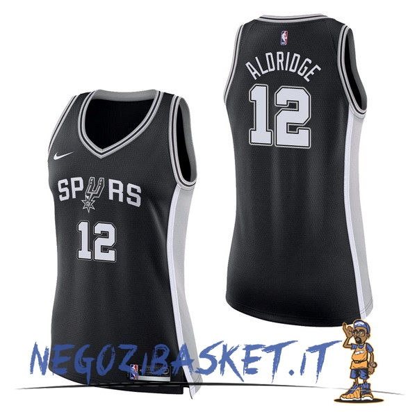 Promo Maglia NBA Donna San Antonio Spurs NO.12 LaMarcus Aldridge Nero Icon