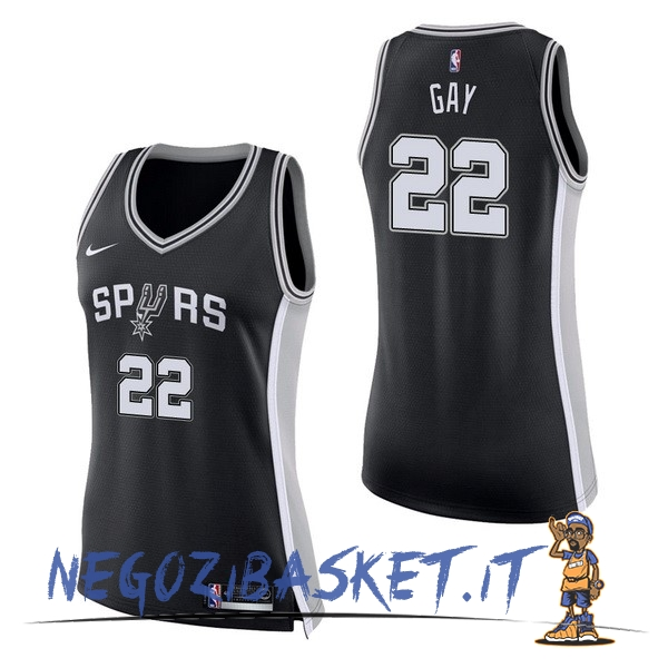 Promo Maglia NBA Donna San Antonio Spurs NO.22 Rudy Gay Nero Icon