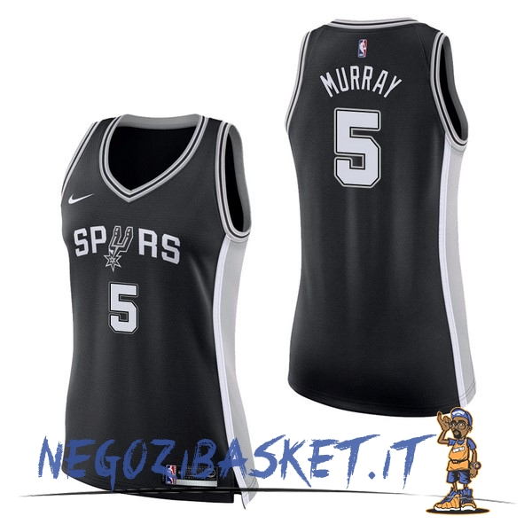 Promo Maglia NBA Donna San Antonio Spurs NO.5 Dejounte Murray Nero Icon