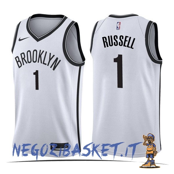 Promo Maglia NBA Nike Brooklyn Nets NO.1 D'Angelo Russell Bianco Association