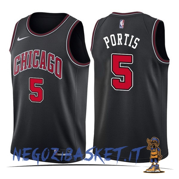 Promo Maglia NBA Nike Chicago Bulls NO.5 Bobby Portis Nero Statement