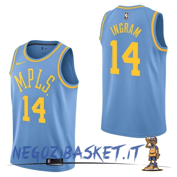 Promo Maglia NBA Nike Los Angeles Lakers NO.14 Brandon Ingram Retro Blu