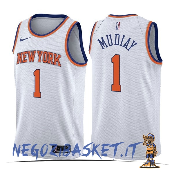 Promo Maglia NBA Nike New York Knicks NO.1 Emmanuel Mudiay Bianco Association