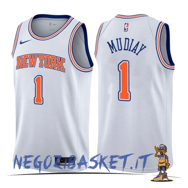 Promo Maglia NBA Nike New York Knicks NO.1 Emmanuel Mudiay Bianco Statement