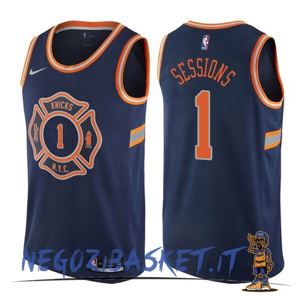 Promo Maglia NBA Nike New York Knicks NO.1 Ramon Sessions Nike Blu Città