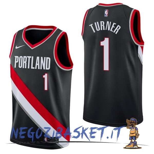 Promo Maglia NBA Nike Portland Trail Blazers NO.1 Evan Turner Nero Icon