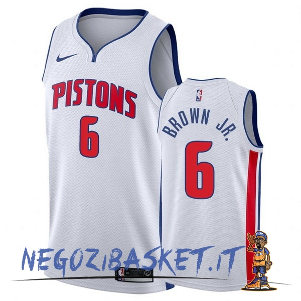 Promo Maglia NBA Nike Detroit Pistons NO.6 Bruce Brown Jr Bianco Association 2017-18