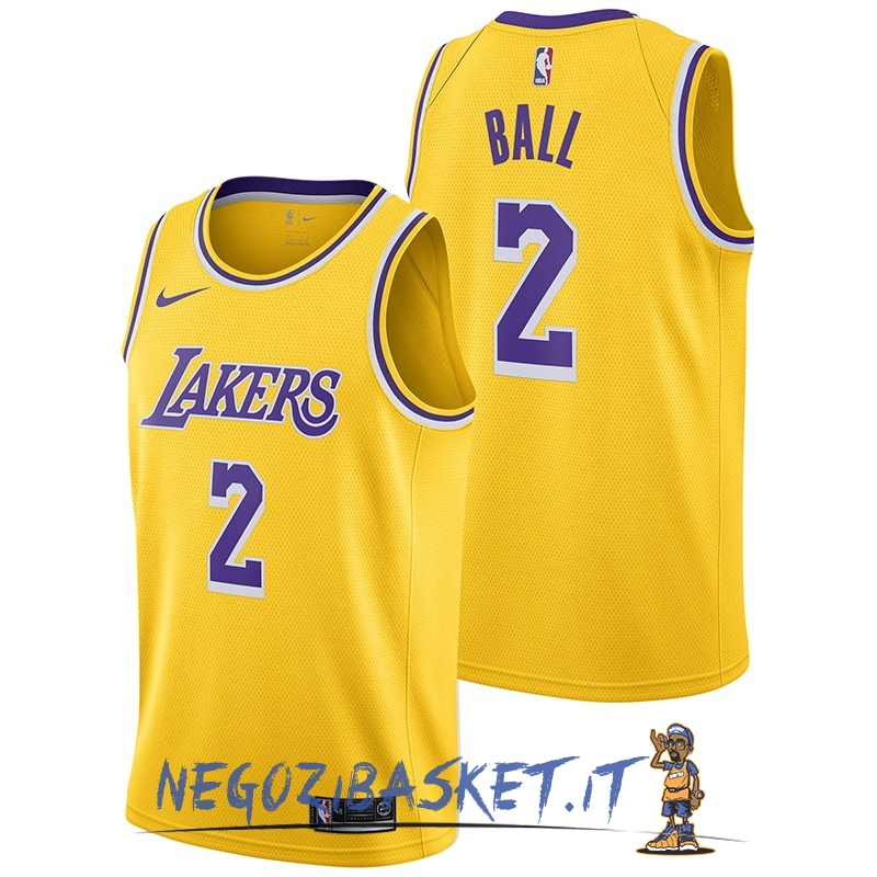 Promo Maglia NBA Nike Los Angeles Lakers NO.2 Lonzo Ball Giallo Icon 2018-19
