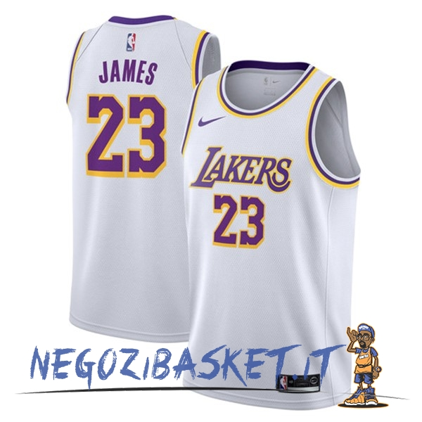Promo Maglia NBA Nike Los Angeles Lakers NO.23 Lebron James Bianco Association 2018-19