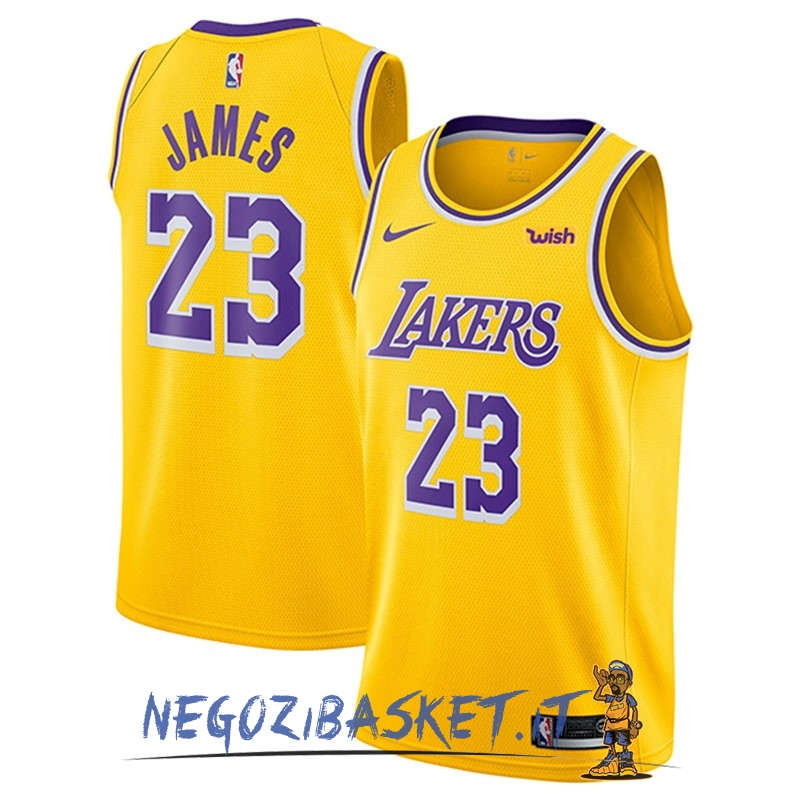Promo Maglia NBA Nike Los Angeles Lakers NO.23 Lebron James Giallo 2018-19