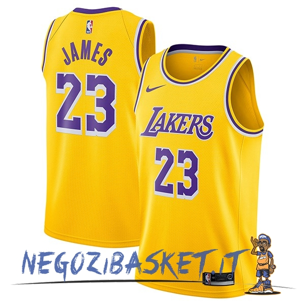 Promo Maglia NBA Nike Los Angeles Lakers NO.23 Lebron James Giallo Icon 2018-19