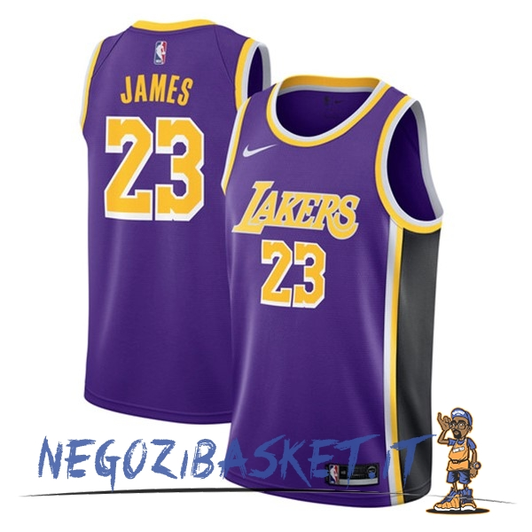 Promo Maglia NBA Nike Los Angeles Lakers NO.23 Lebron James Porpora Statement 2018-19