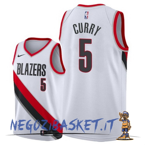 Promo Maglia NBA Nike Portland Trail Blazers NO.5 Seth Curry Bianco Association 2018
