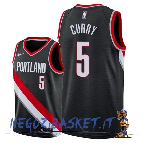 Promo Maglia NBA Nike Portland Trail Blazers NO.5 Seth Curry Nero Icon 2018