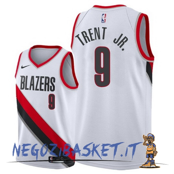 Promo Maglia NBA Nike Portland Trail Blazers NO.9 Gary Trent Jr Bianco Association 2018