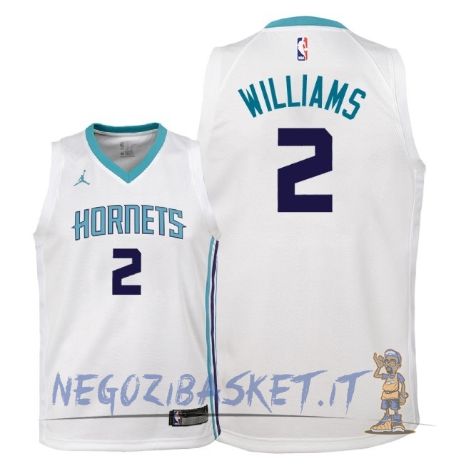 Promo Maglia NBA Bambino Charlotte Hornets NO.2 Marvin Williams Bianco Association 2018