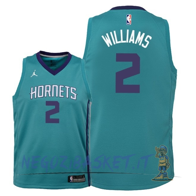 Promo Maglia NBA Bambino Charlotte Hornets NO.2 Marvin Williams Verde Icon 2018