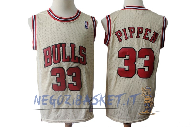 Promo Maglia NBA Chicago Bulls NO.33 Scottie Pippen Retro Crema