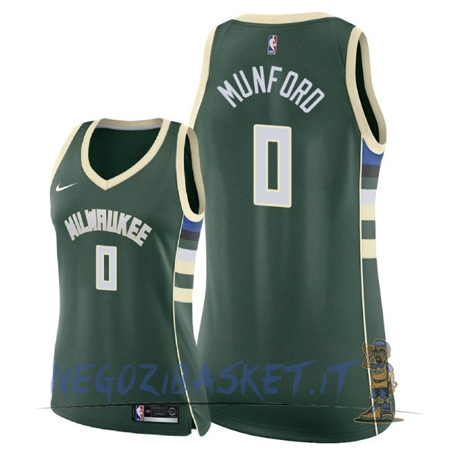 Promo Maglia NBA Donna Milwaukee Bucks NO.0 Xavier Munford Verde Icon 2018