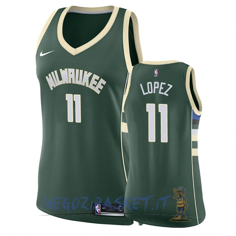 Promo Maglia NBA Donna Milwaukee Bucks NO.11 Brook Lopez Verde Icon 2018