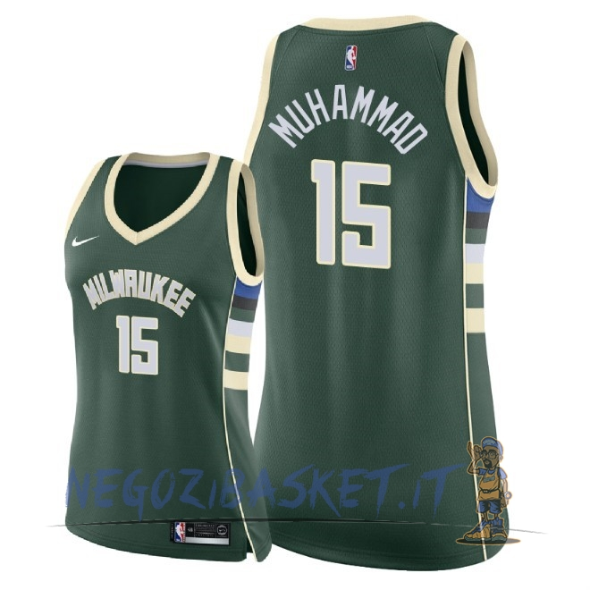Promo Maglia NBA Donna Milwaukee Bucks NO.15 Shabazz Muhammad Verde Icon 2018
