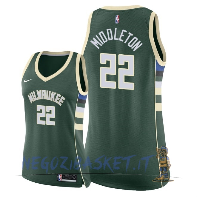 Promo Maglia NBA Donna Milwaukee Bucks NO.22 Khris Middleton Verde Icon 2018