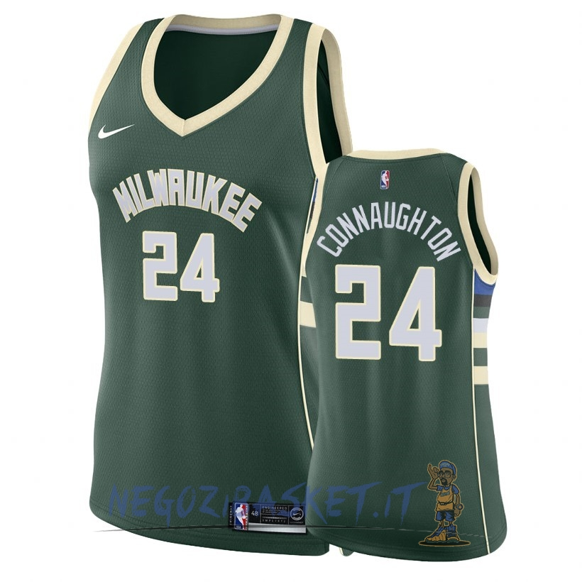 Promo Maglia NBA Donna Milwaukee Bucks NO.24 Pat Connaughton Verde Icon 2018