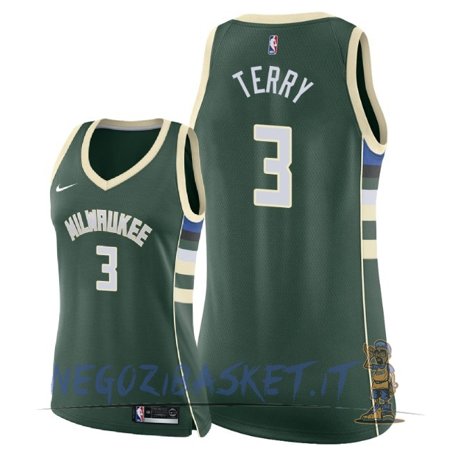 Promo Maglia NBA Donna Milwaukee Bucks NO.3 Jason Terry Verde Icon 2018