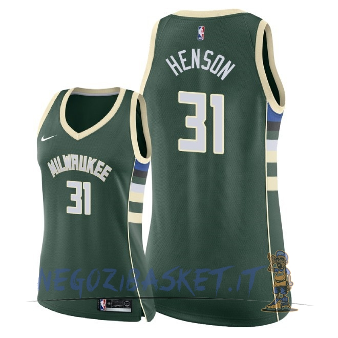 Promo Maglia NBA Donna Milwaukee Bucks NO.31 John Henson Verde Icon 2018