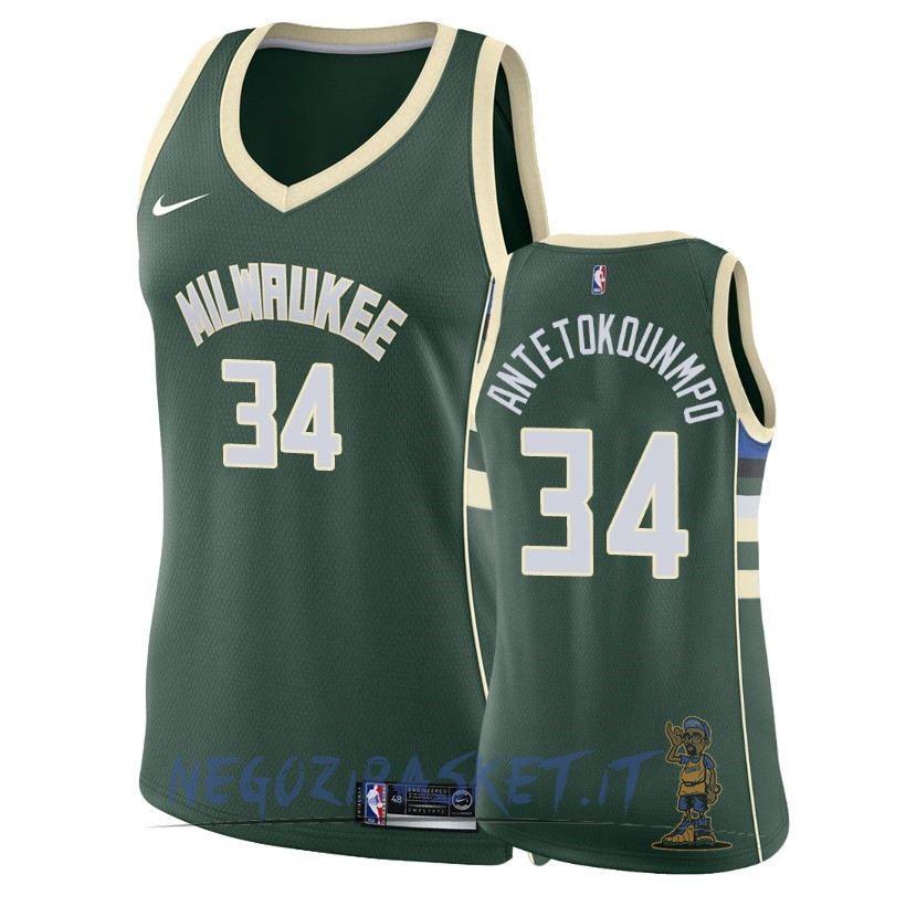 Promo Maglia NBA Donna Milwaukee Bucks NO.34 Giannis Antetokounmpo Verde Icon 2018