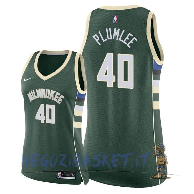 Promo Maglia NBA Donna Milwaukee Bucks NO.40 Marshall Plumlee Verde Icon 2018
