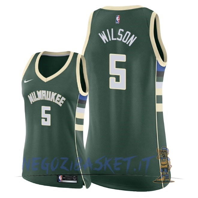 Promo Maglia NBA Donna Milwaukee Bucks NO.5 D.J. Wilson Verde Icon 2018