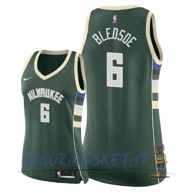 Promo Maglia NBA Donna Milwaukee Bucks NO.6 Eric Bledsoe Verde Icon 2018
