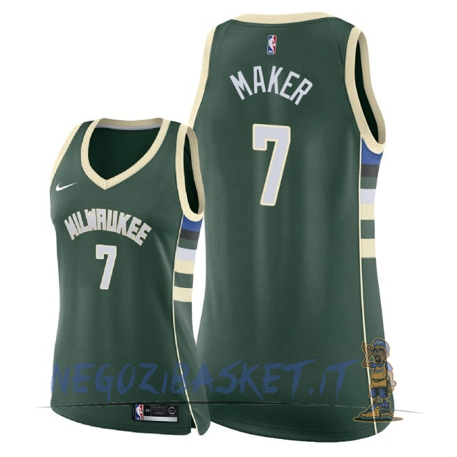 Promo Maglia NBA Donna Milwaukee Bucks NO.7 Thon Maker Verde Icon 2018