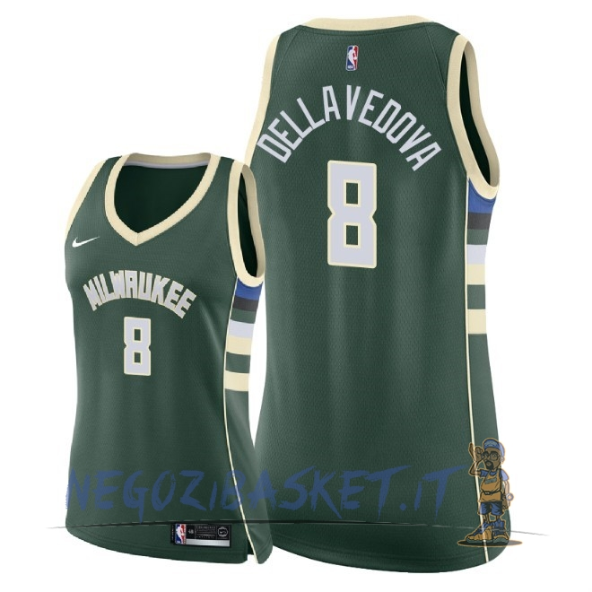 Promo Maglia NBA Donna Milwaukee Bucks NO.8 Matthew Dellavedova Verde Icon 2018