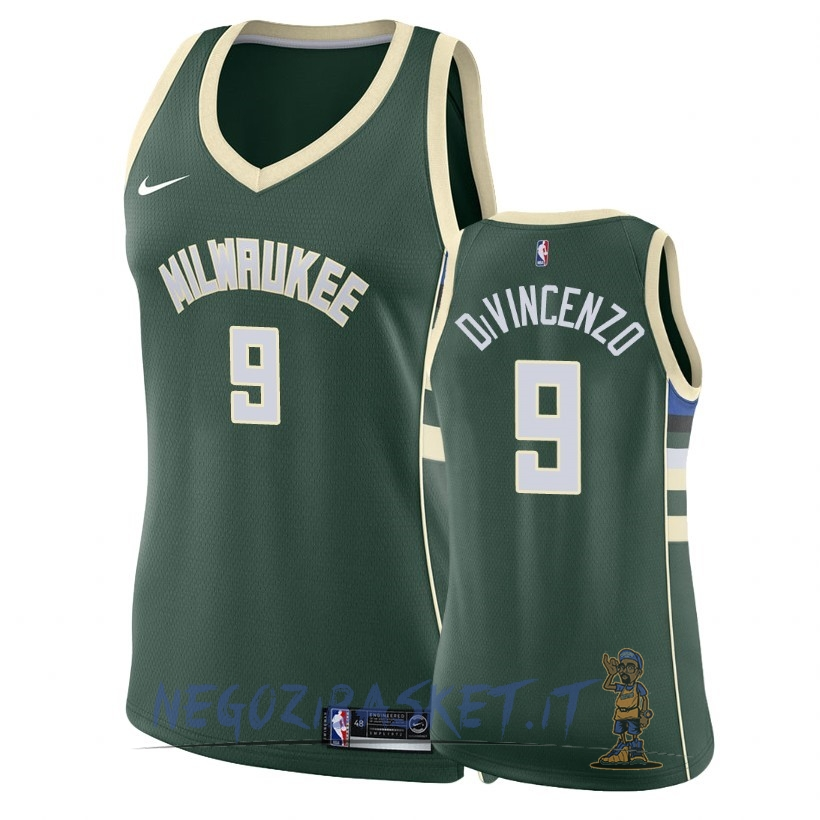 Promo Maglia NBA Donna Milwaukee Bucks NO.9 Donte DiVincenzo Verde Icon 2018