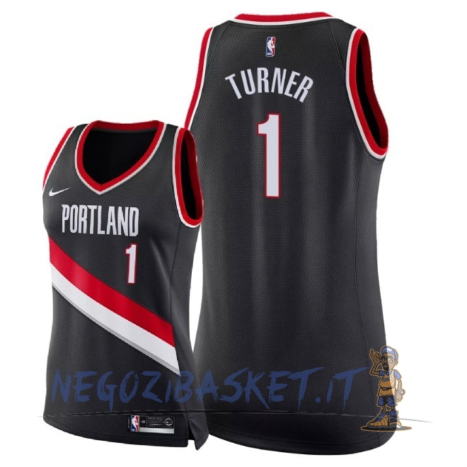 Promo Maglia NBA Donna Portland Trail Blazers NO.1 Evan Turner Nero Icon 2018