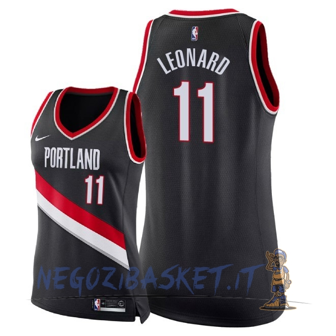Promo Maglia NBA Donna Portland Trail Blazers NO.11 Meyers Leonard Nero Icon 2018