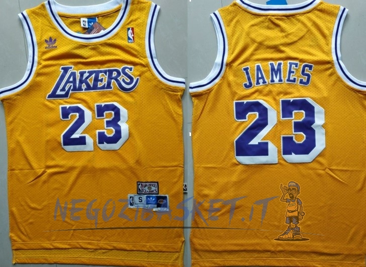 Promo Maglia NBA Los Angeles Lakers NO.23 Lebron James Retro Giallo