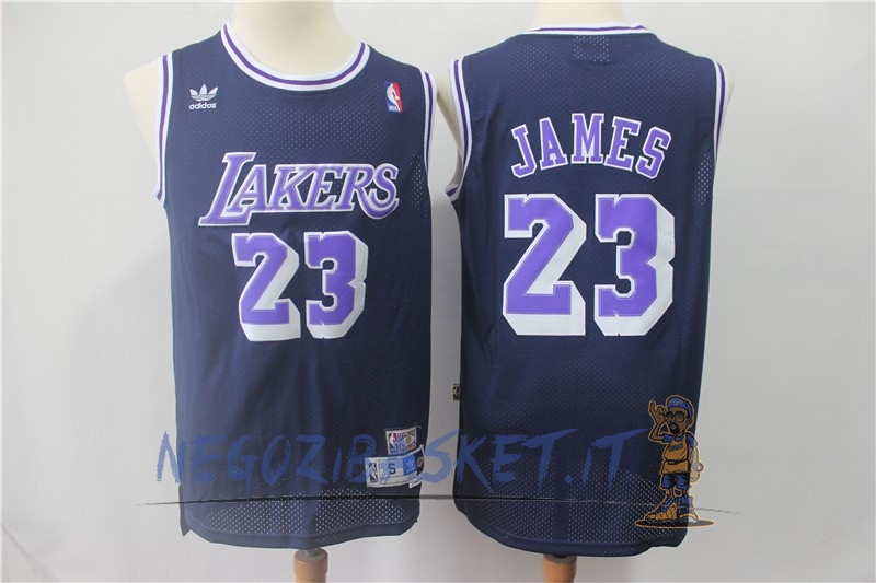 Promo Maglia NBA Los Angeles Lakers NO.23 Lebron James Retro Nero Porpora