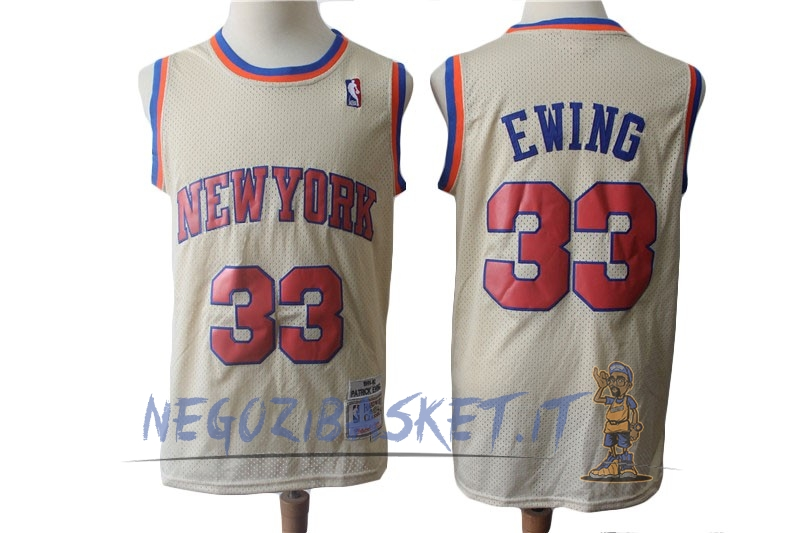 Promo Maglia NBA New York Knicks NO.33 Patrick Ewing Retro Crema 1991-92