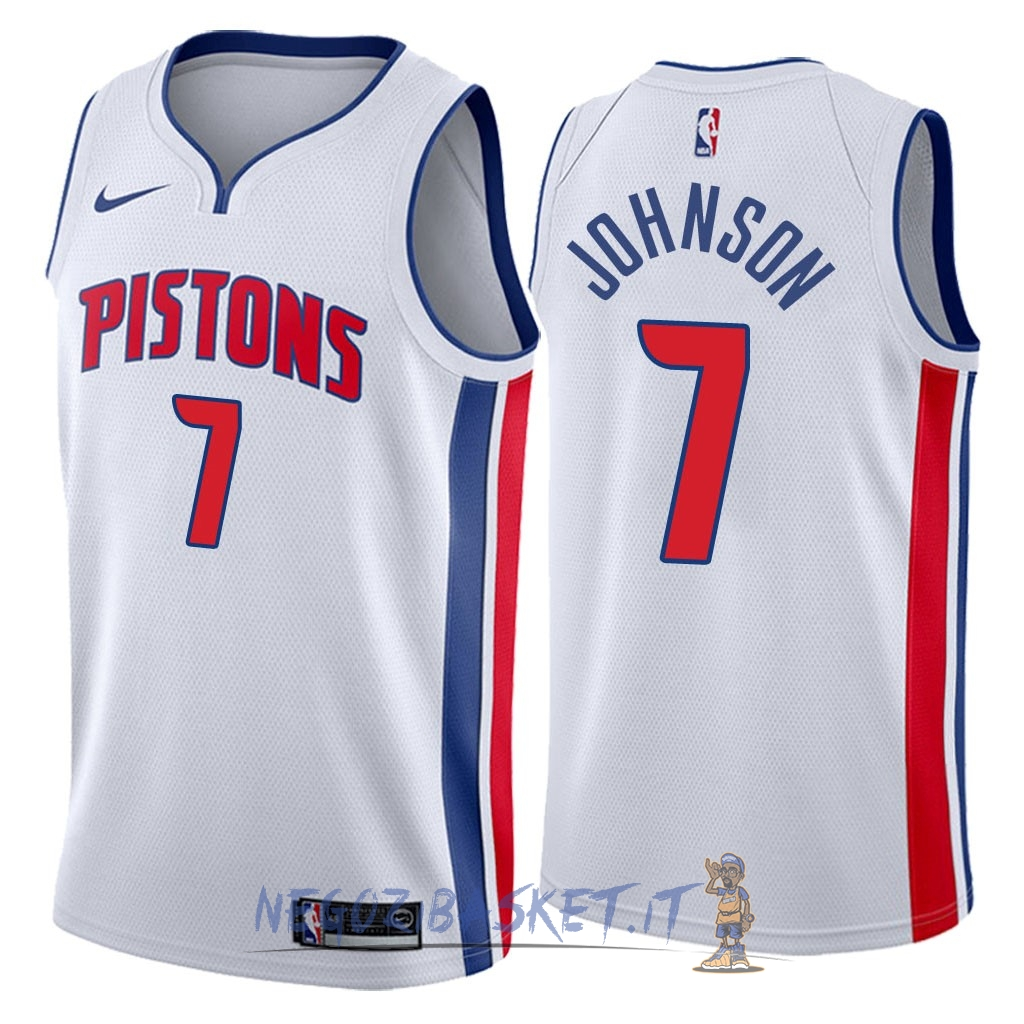 Promo Maglia NBA Nike Detroit Pistons NO.7 Stanley Johnson Bianco Association 2018