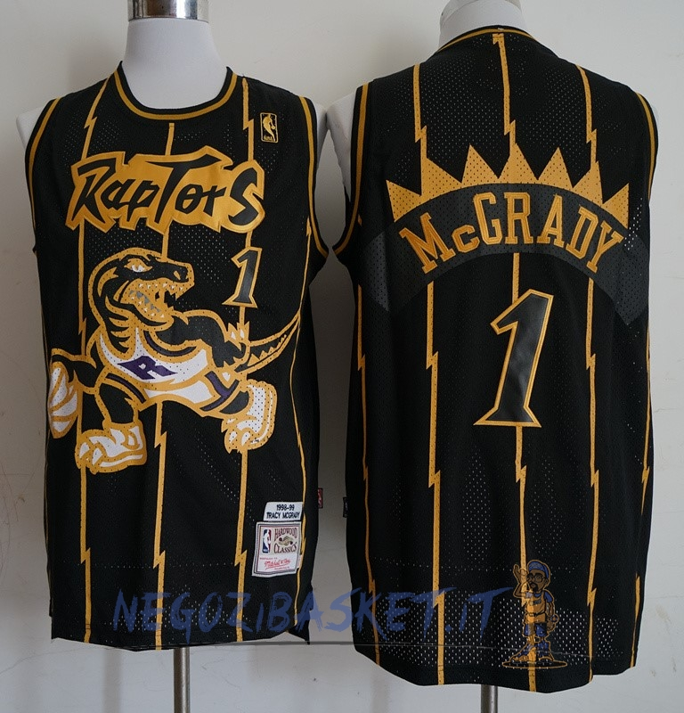 Promo Maglia NBA Toronto Raptors NO.1 Tracy McGrady Retro Oro Nero 1998-99