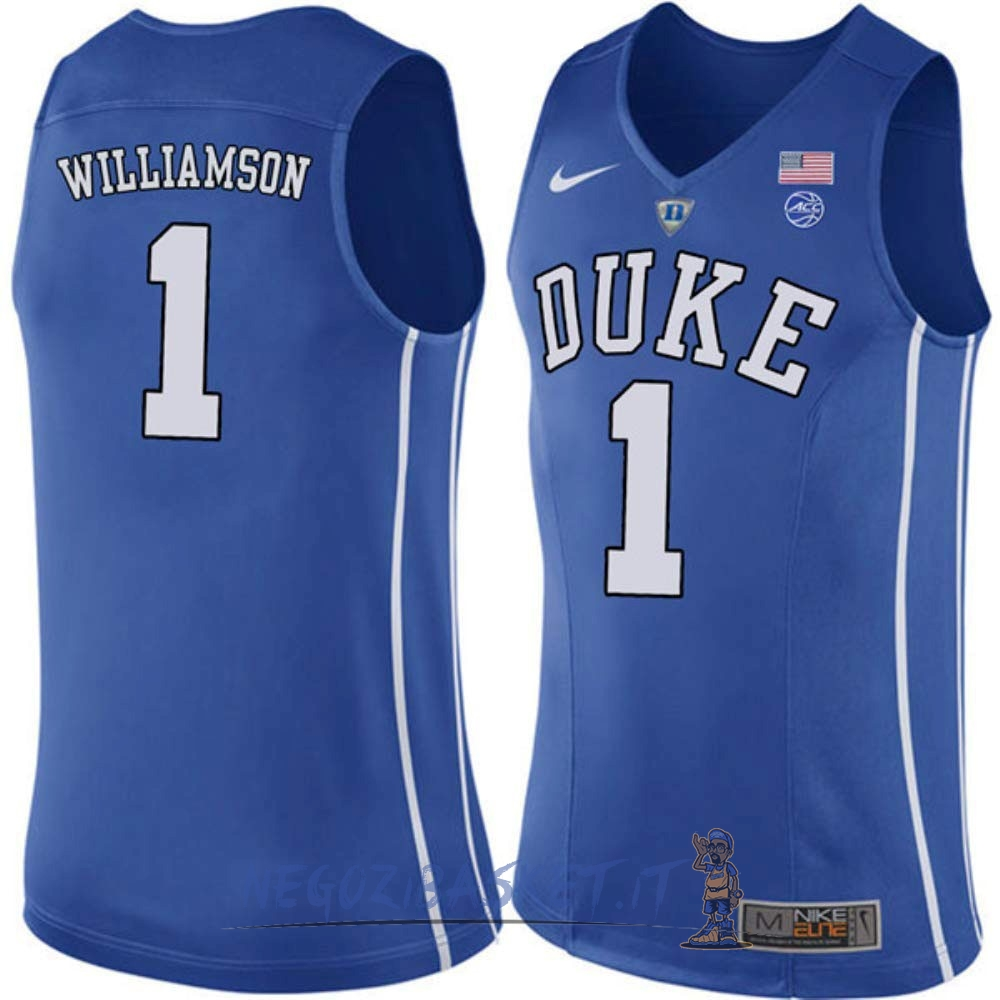 Promo Maglia NCAA Duke NO.1 Zion Williamson Blu