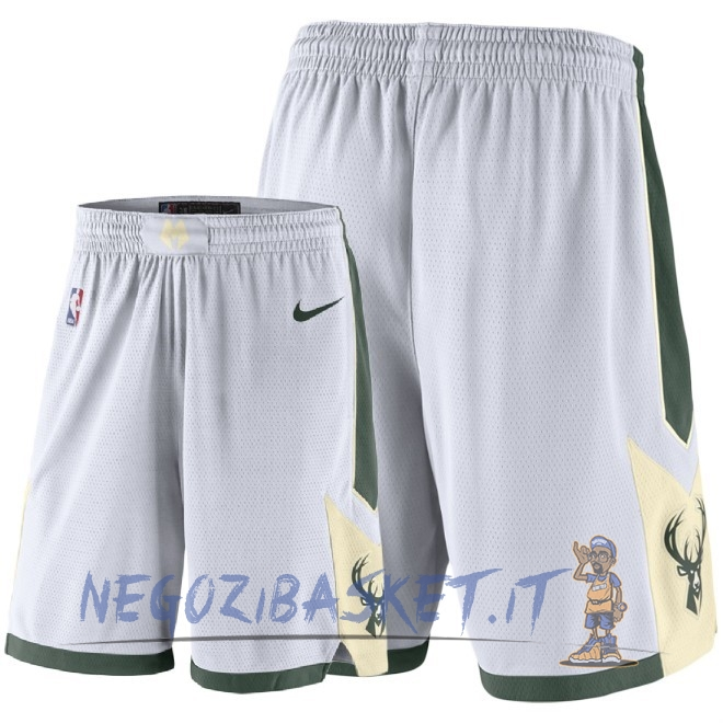Promo Pantaloni Basket Milwaukee Bucks Nike Bianco 2018