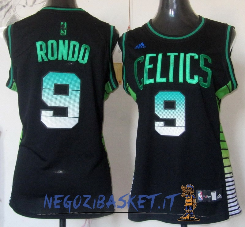 Promo Maglia NBA Donna Boston Celtics NO.9 Rajon Rondo Nero Verde