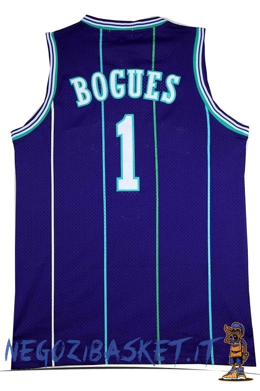 Promo Maglia NBA Charlotte Hornets No.1 Tyrone Curtis Bogues Blu